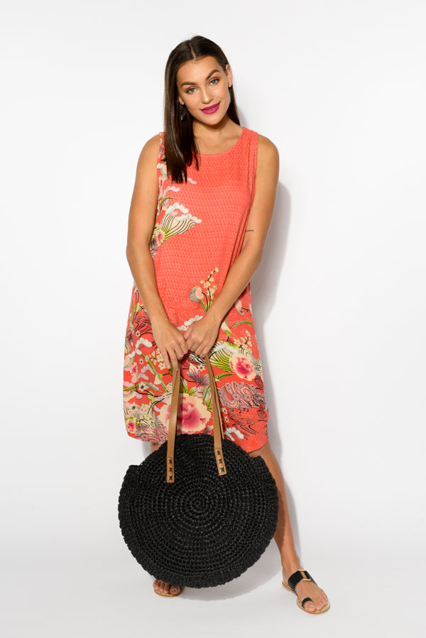 Bologna Coral Sleeveless Dress - Blue Bungalow
