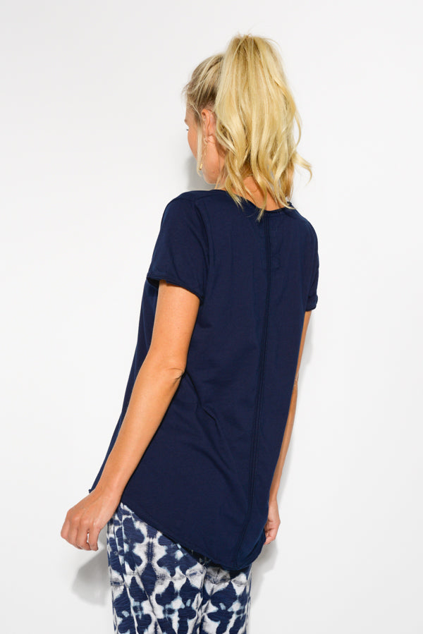 Navy Cotton Fundamental Vee Tee - Blue Bungalow