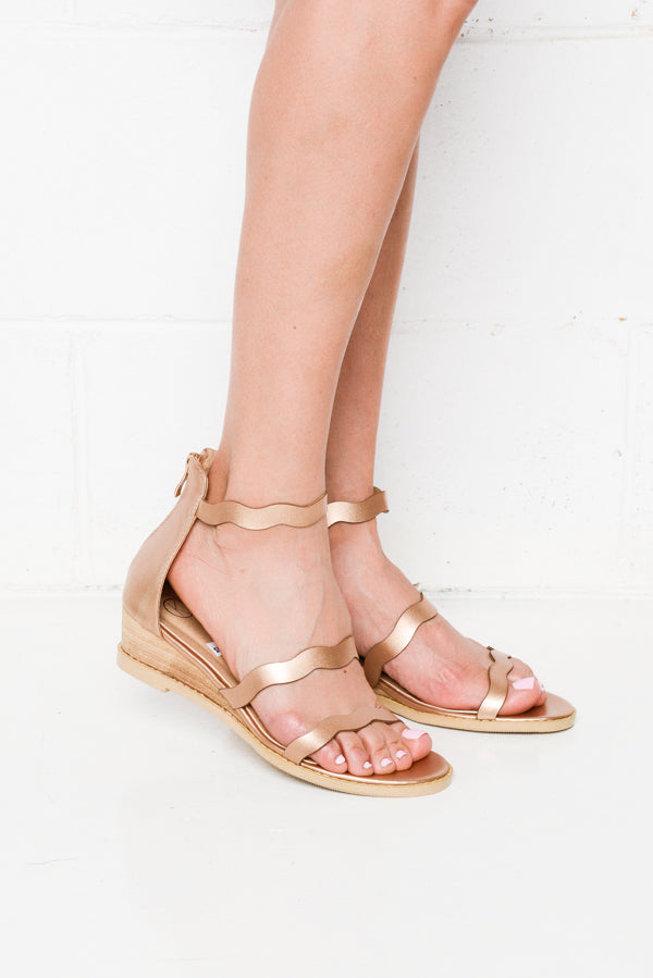Olley Rose Wedge Sandals - Blue Bungalow