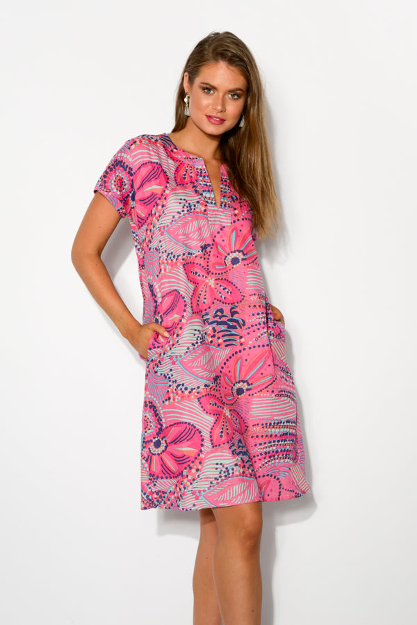 Aviana Pink Cotton Shift Dress