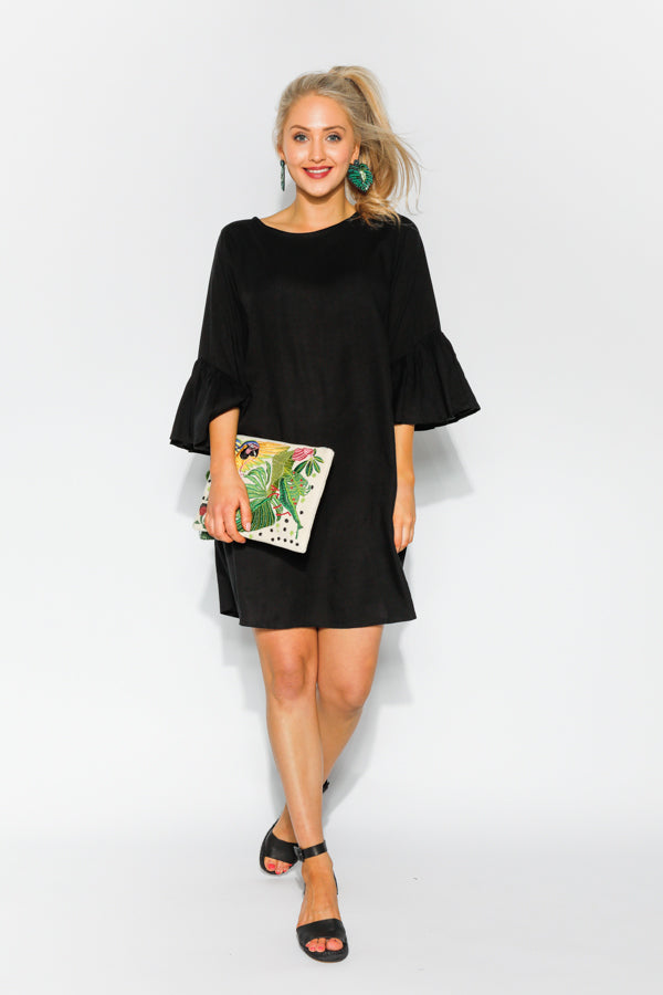 Jojo Black Bell Sleeve Dress - Blue Bungalow