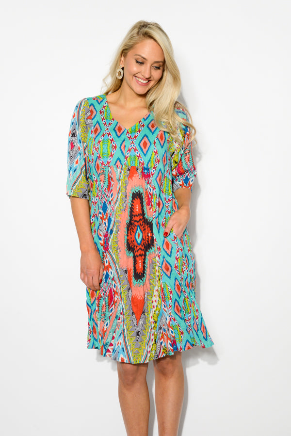 Lombardy Crinkle Cotton Sleeve Dress - Blue Bungalow