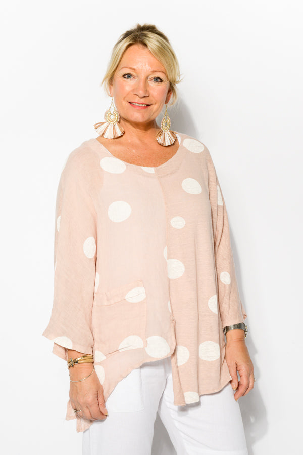Keva Blush Spot Linen Top