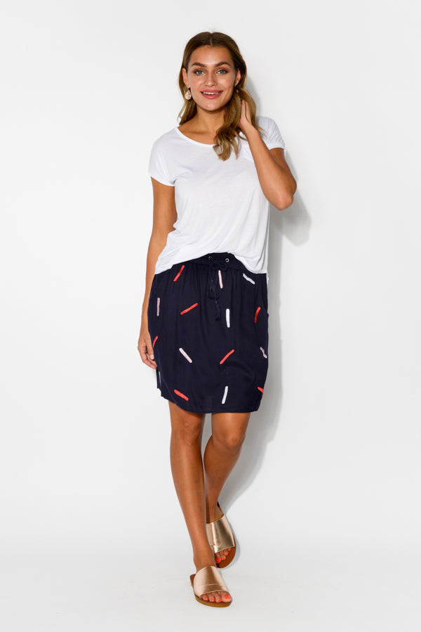Navy Confetti Skirt - Blue Bungalow