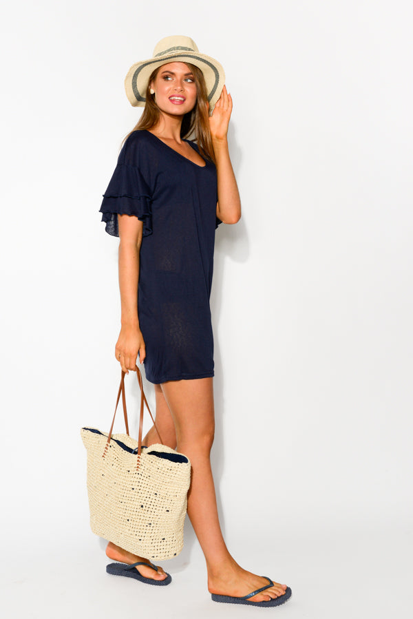Sydney Navy Beach Dress - Blue Bungalow