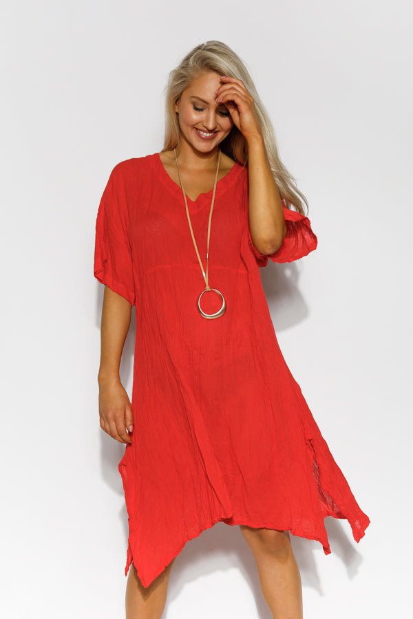 Brooke Red Crinkle Cotton Kaftan Dress - Blue Bungalow