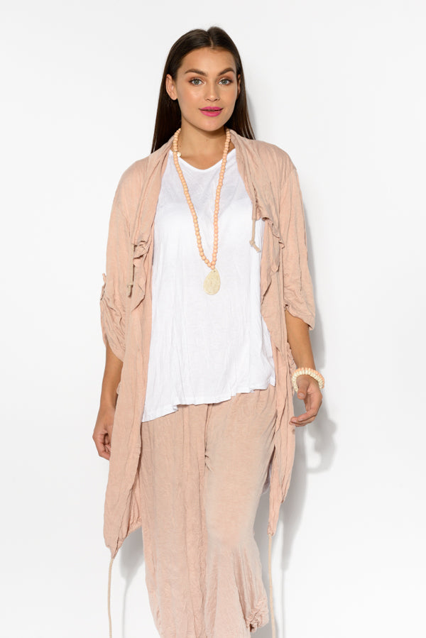 Blush Crinkle Cotton Drawstring Cardigan - Blue Bungalow
