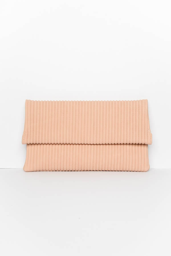 Blush Pleated Fold Over Clutch
