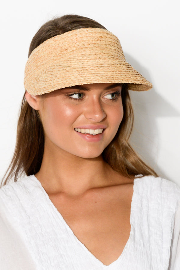 Noosa Natural Raffia Visor - Blue Bungalow