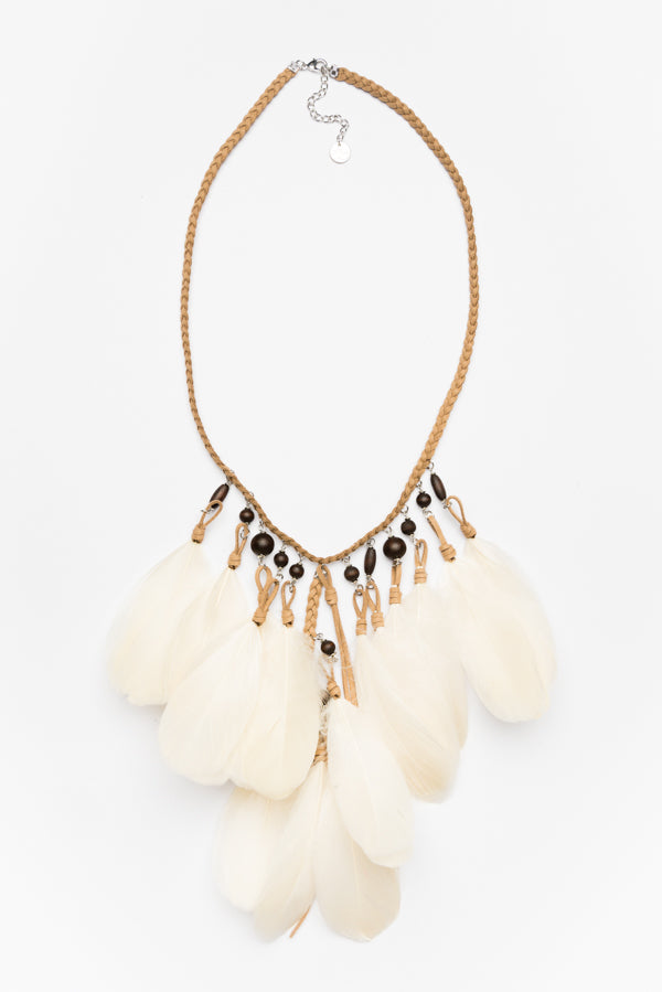 Congo White Feather Necklace