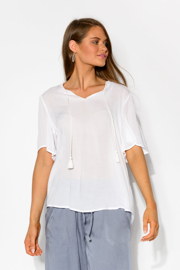 Daisy White Neck Tie Top - Blue Bungalow