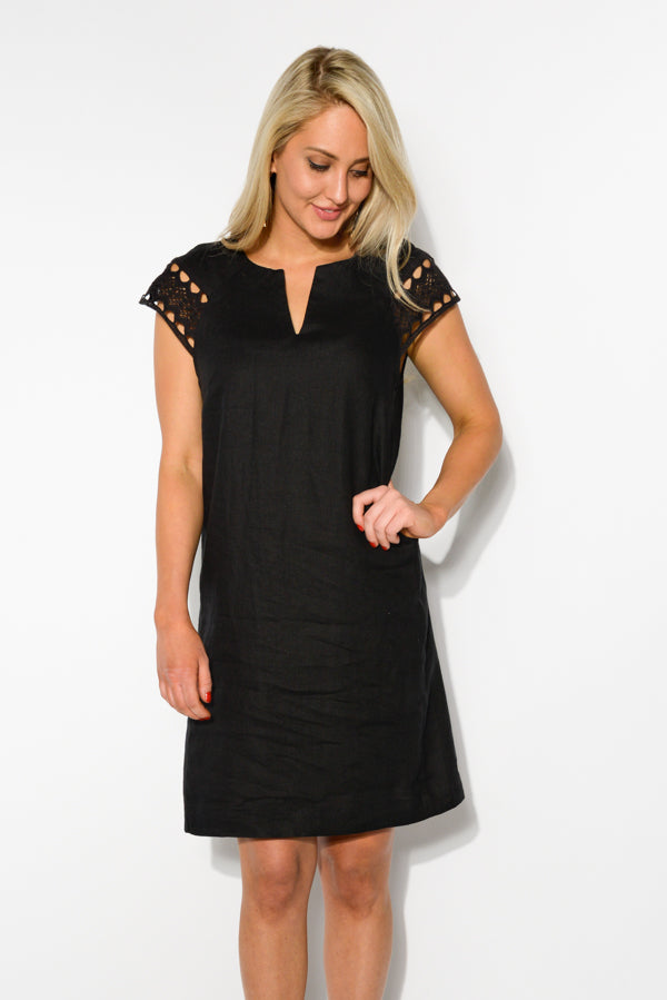Sierra Black Linen Dress