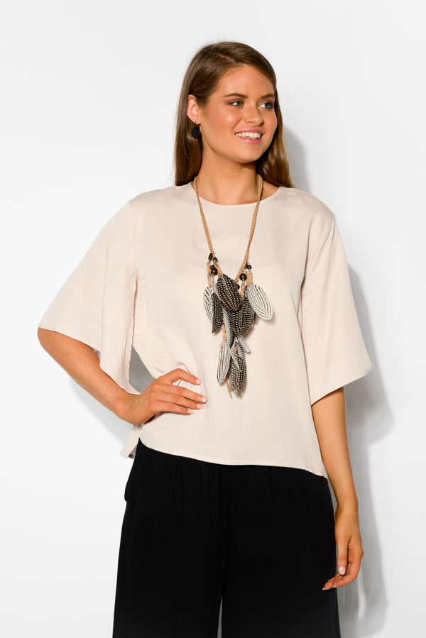 Beige Split Sleeve Top - Blue Bungalow