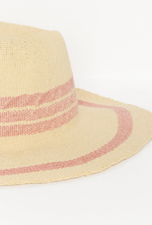 Rose Stripe Natural Woven Hat - Blue Bungalow