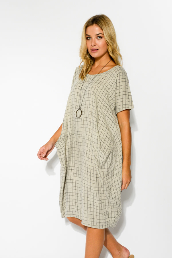 Ember Grey Check Linen Dress