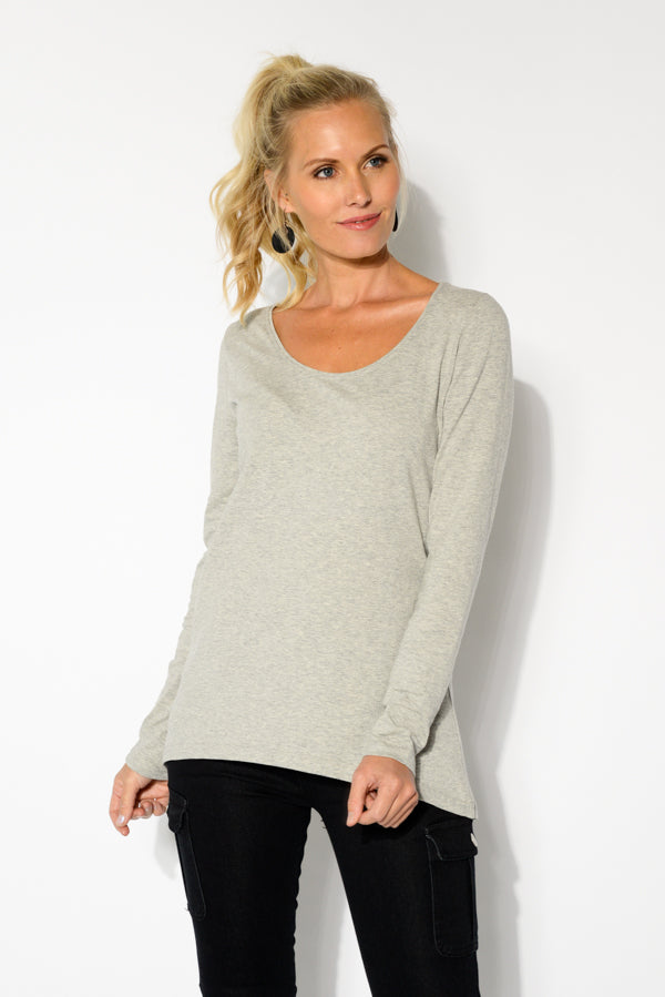 Grey Cotton Long Sleeve Top - Blue Bungalow