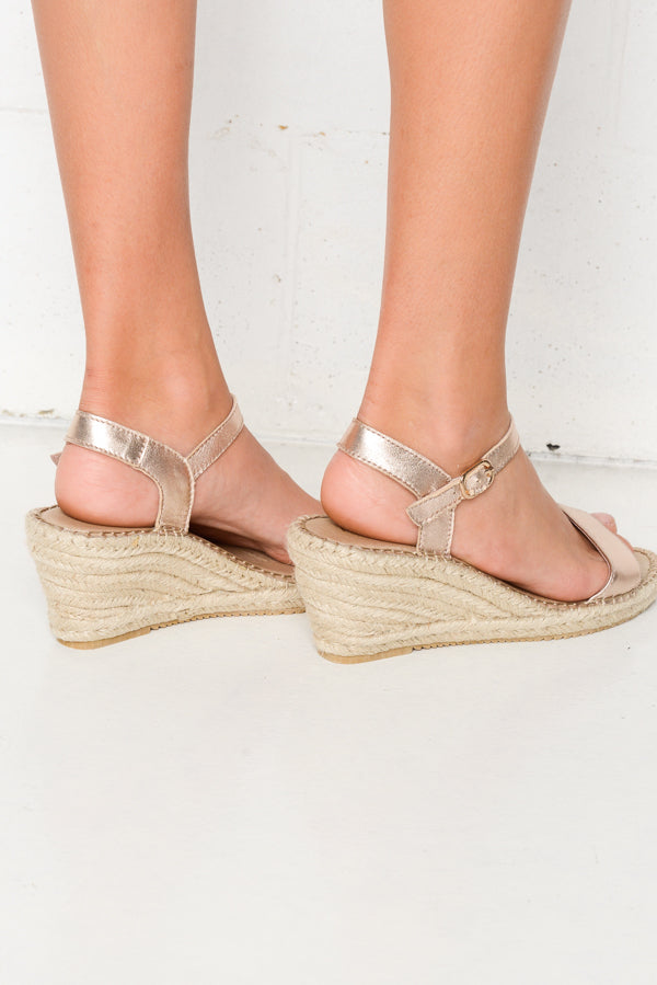Barrie Rose Gold Wedge Sandal - Blue Bungalow