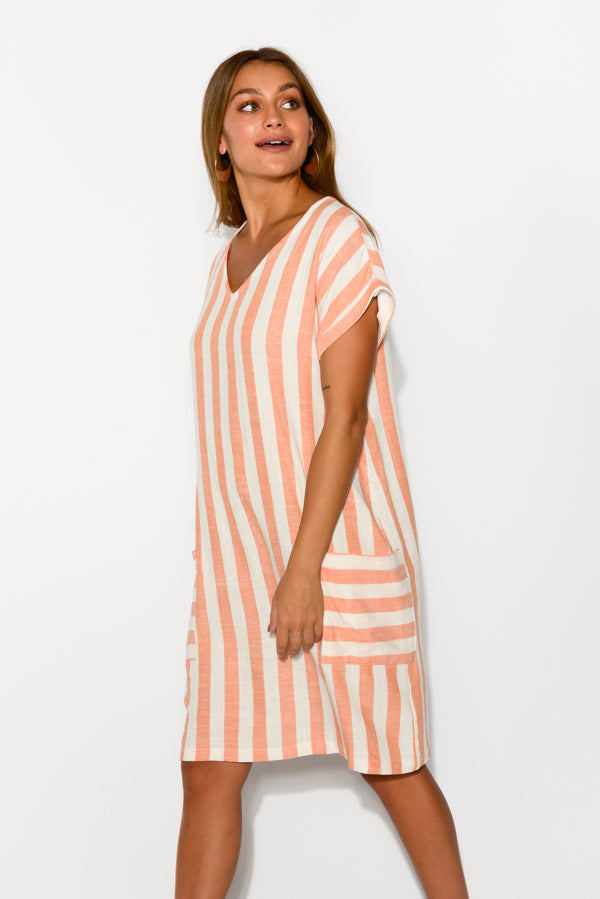 Amalfi Peach Stripe Pocket Dress - Blue Bungalow