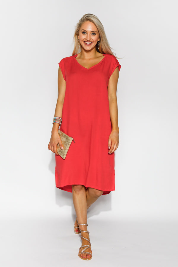Elodie Red Sleeveless Dress - Blue Bungalow
