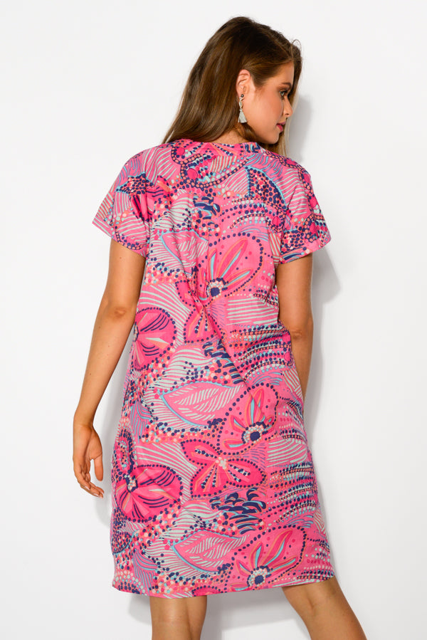 Aviana Pink Cotton Shift Dress - Blue Bungalow