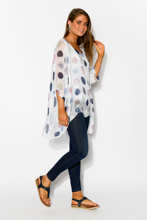 White Spotty Layered Top - Blue Bungalow