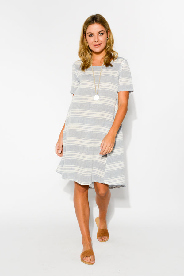 Nell Blue Stripe Linen Cotton Dress - Blue Bungalow
