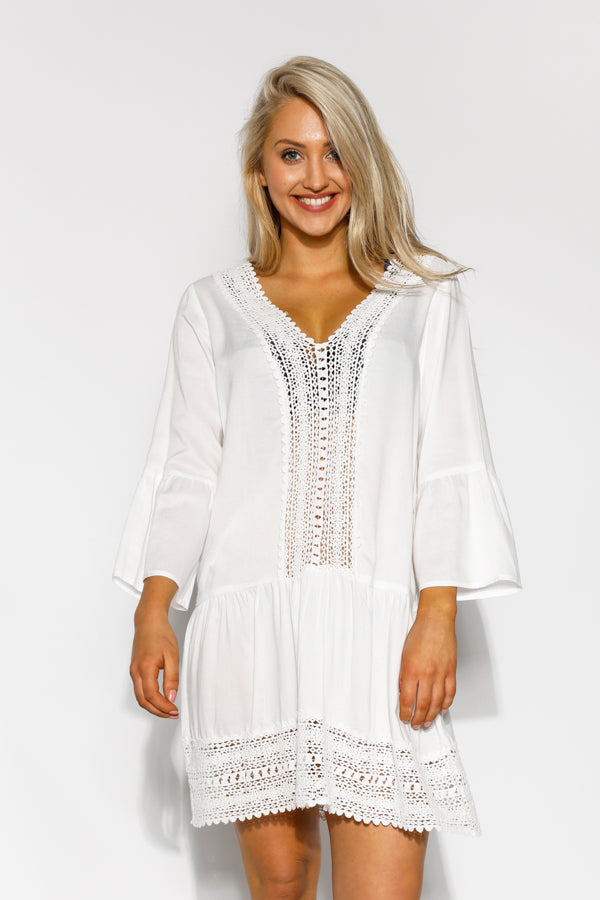 White Acadia Embroidered Kaftan