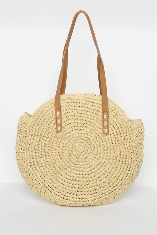 Natural Straw Round Bag - Blue Bungalow