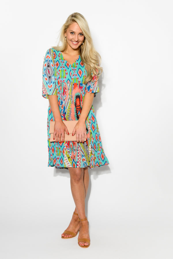 Lombardy Crinkle Cotton Sleeve Dress