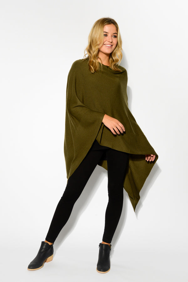 Johnston Olive Knit Poncho - Blue Bungalow