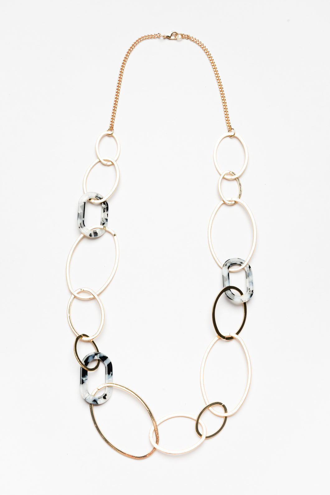Gold and Marble Link Necklace - Blue Bungalow