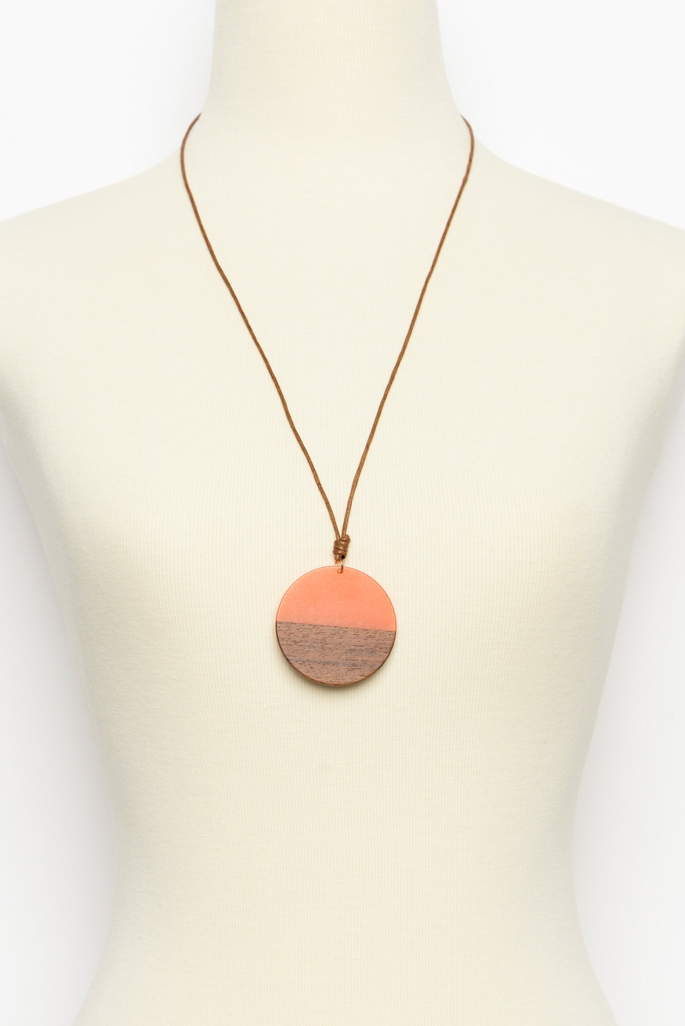 Anthea Orange Wooden Disc Necklace