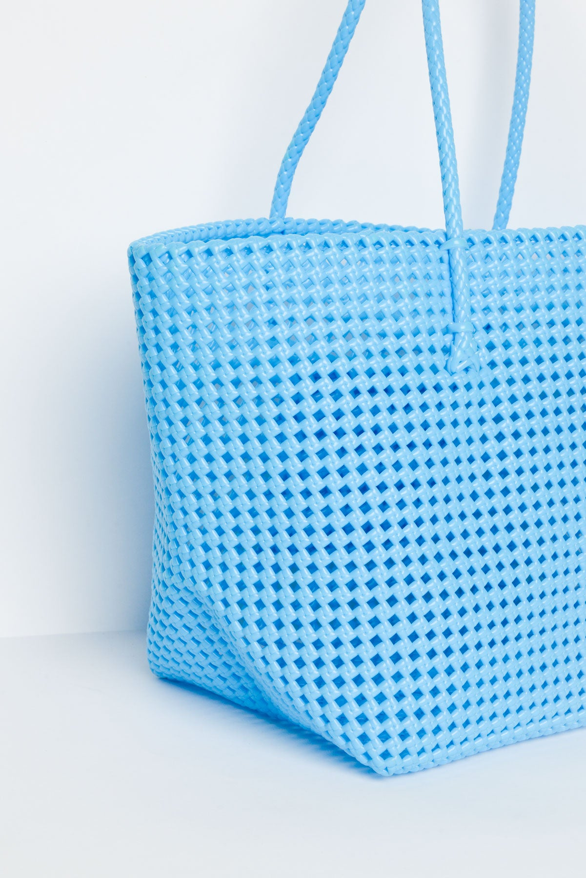 Shelly Blue Recycled Woven Tote - Blue Bungalow