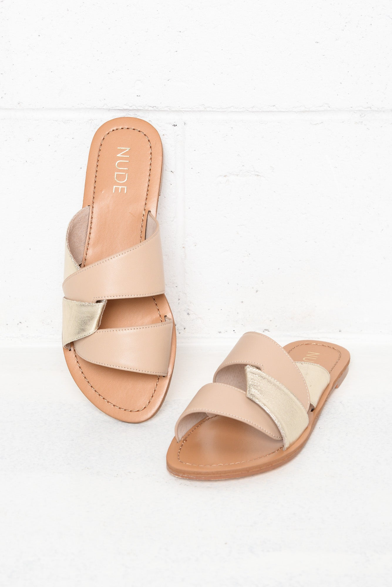 Clara Gold Leather Slide