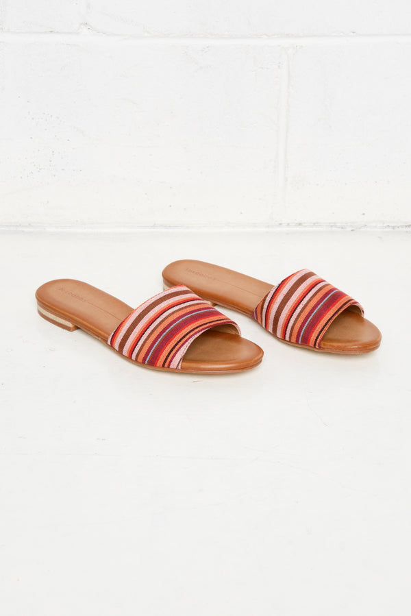 Minnie Orange Stripe Embroidered Slide - Blue Bungalow
