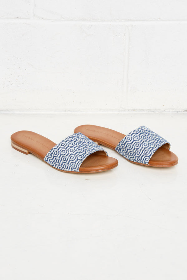 Minnie Blue Embroidered Slide