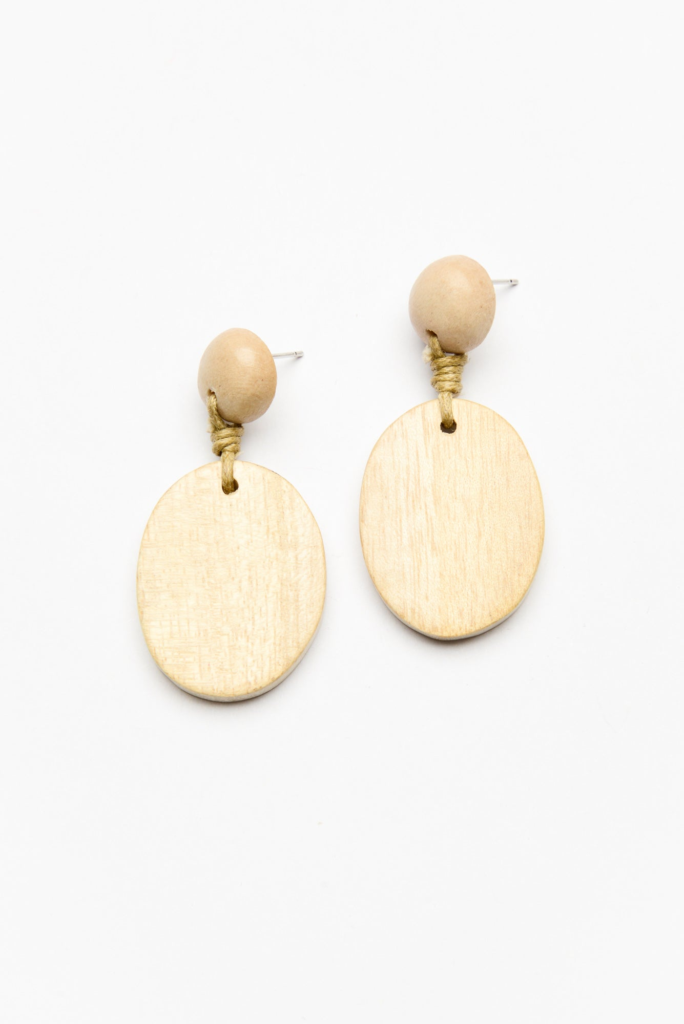 Natural Oval Drop Timber Earrings - Blue Bungalow