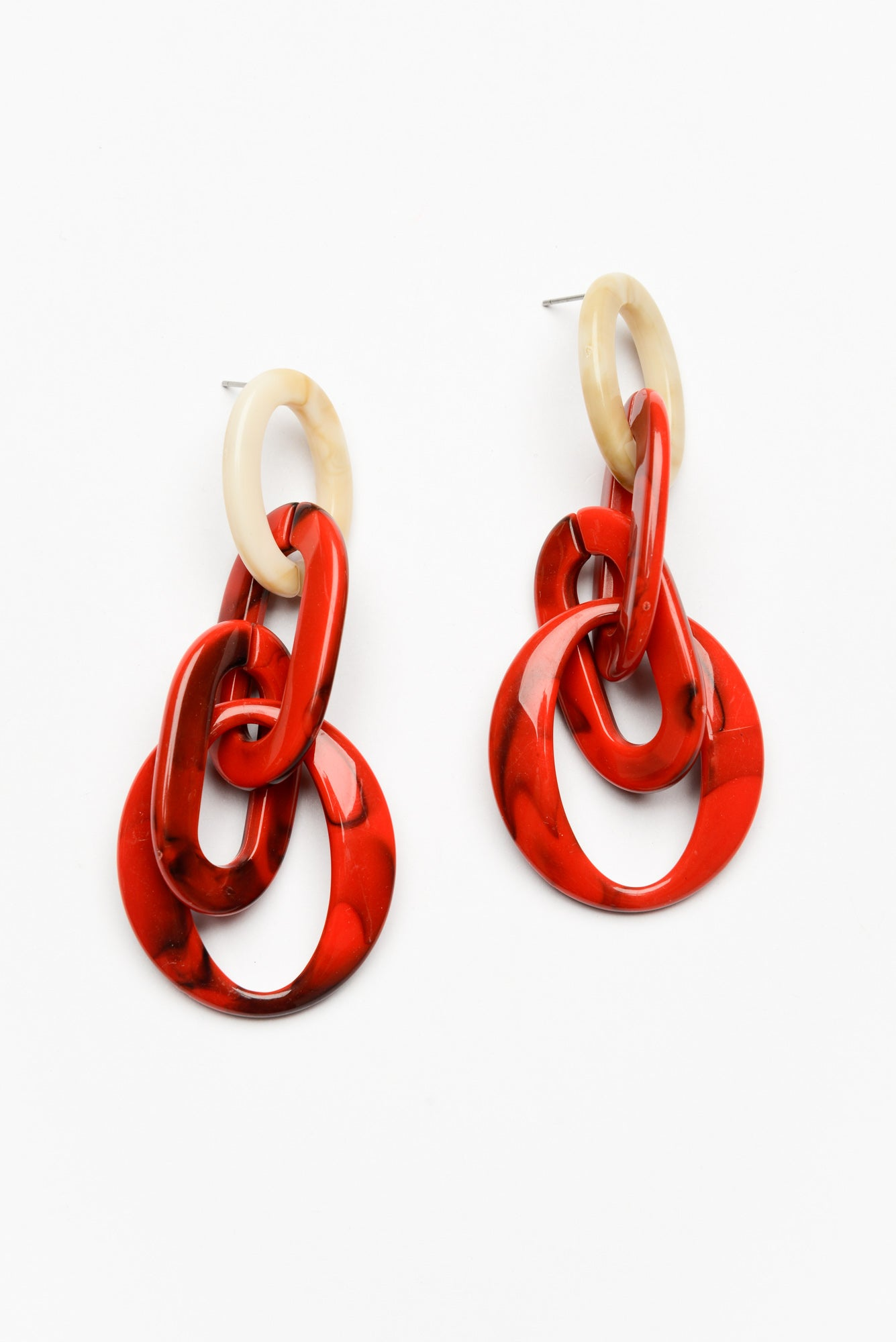 Red and Beige Multi Links Earring - Blue Bungalow