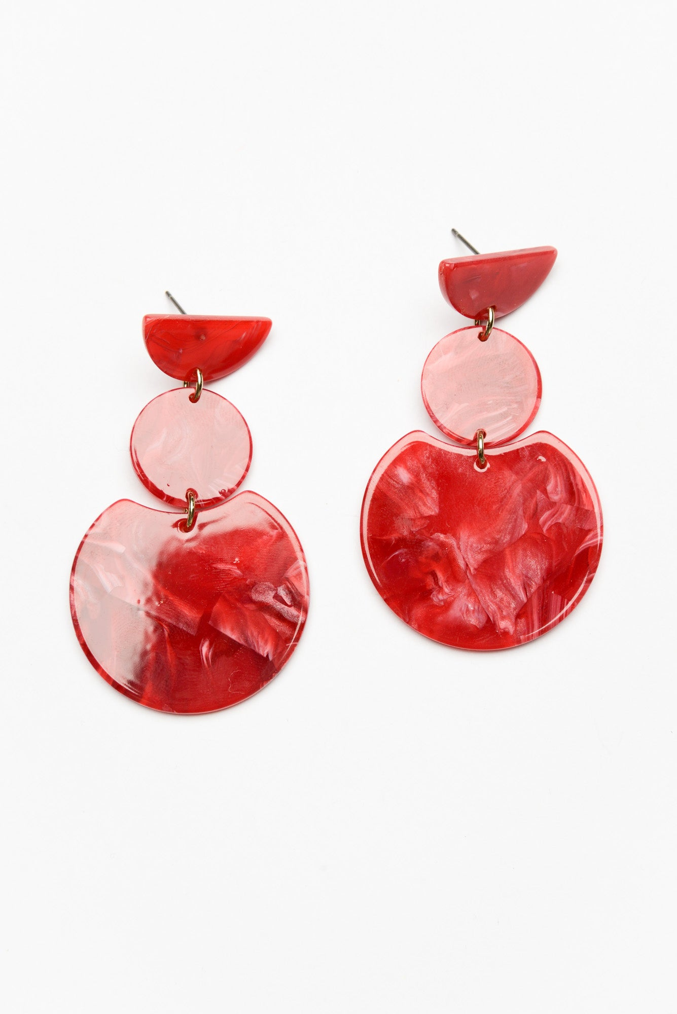 Saskia Red Flat Resin Drop Earring - Blue Bungalow