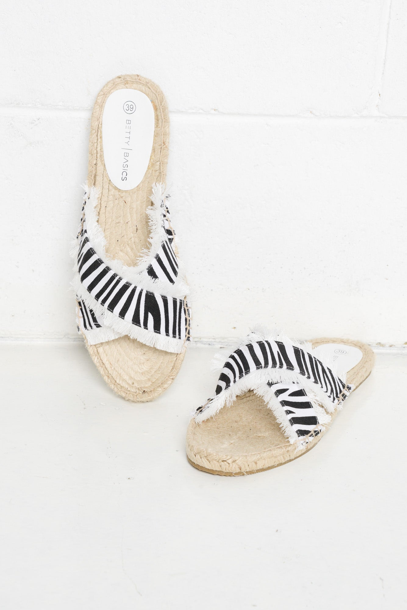 Seeker Zebra Espadrille Slide - Blue Bungalow