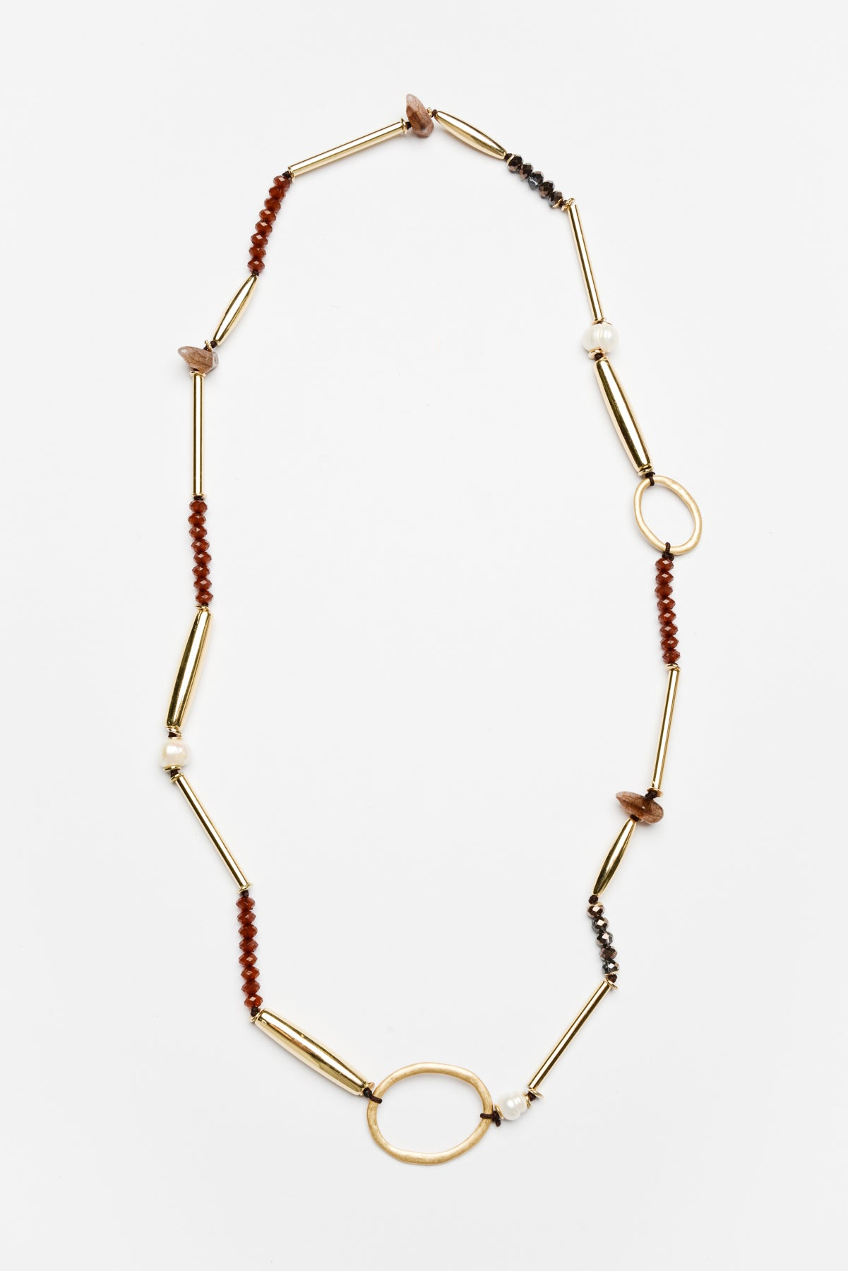 Theora Gold Beaded Necklace - Blue Bungalow