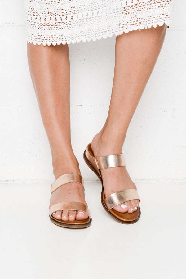 Fae Rose Leather Slide - Blue Bungalow