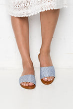 Minnie Blue Embroidered Slide - Blue Bungalow