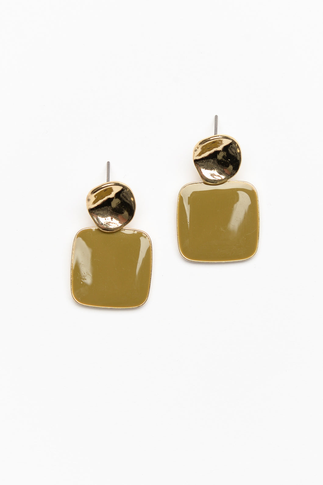 Olive Retro Square Enamel Drop Earring