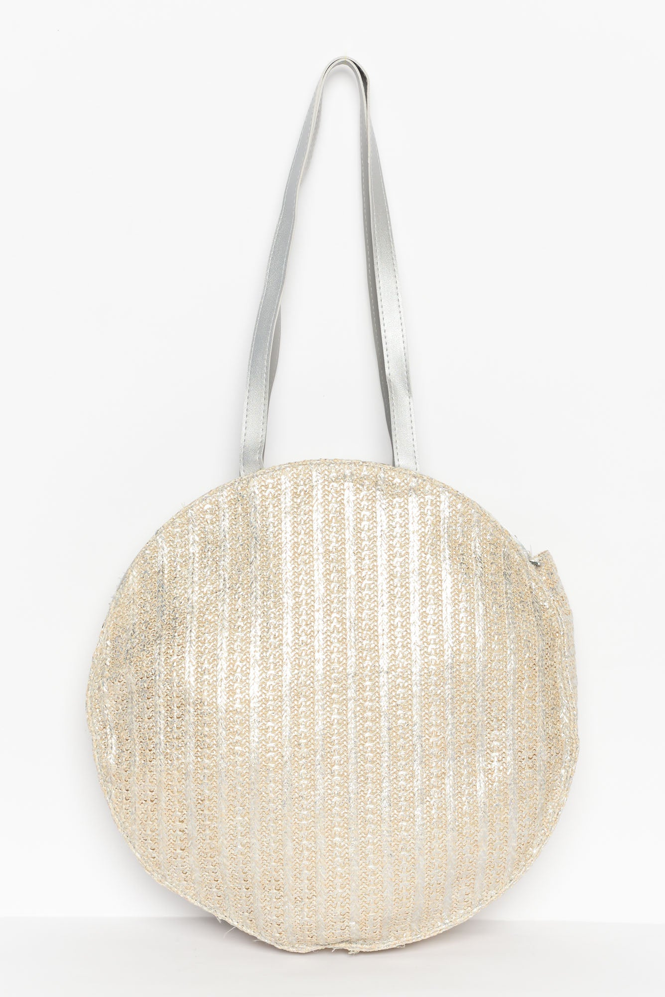 Sara Silver Metallic Large Tote Bag