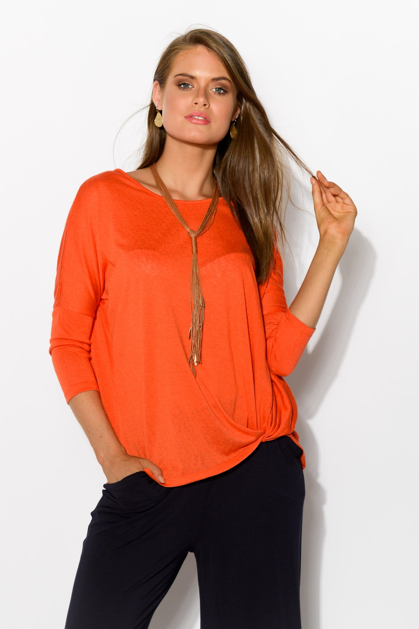 Atlanta Orange Twist Top