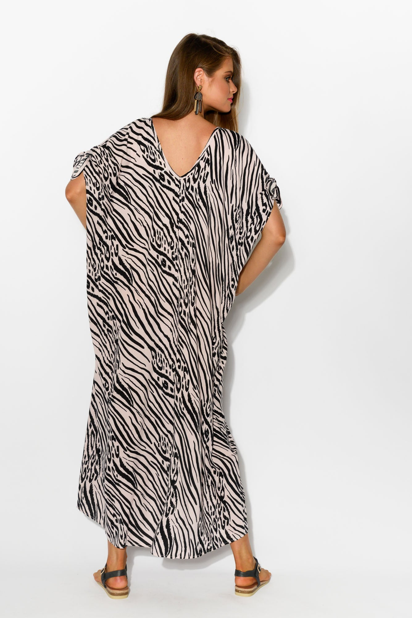 Pink Zebra Cold Shoulder Maxi Kaftan - Blue Bungalow