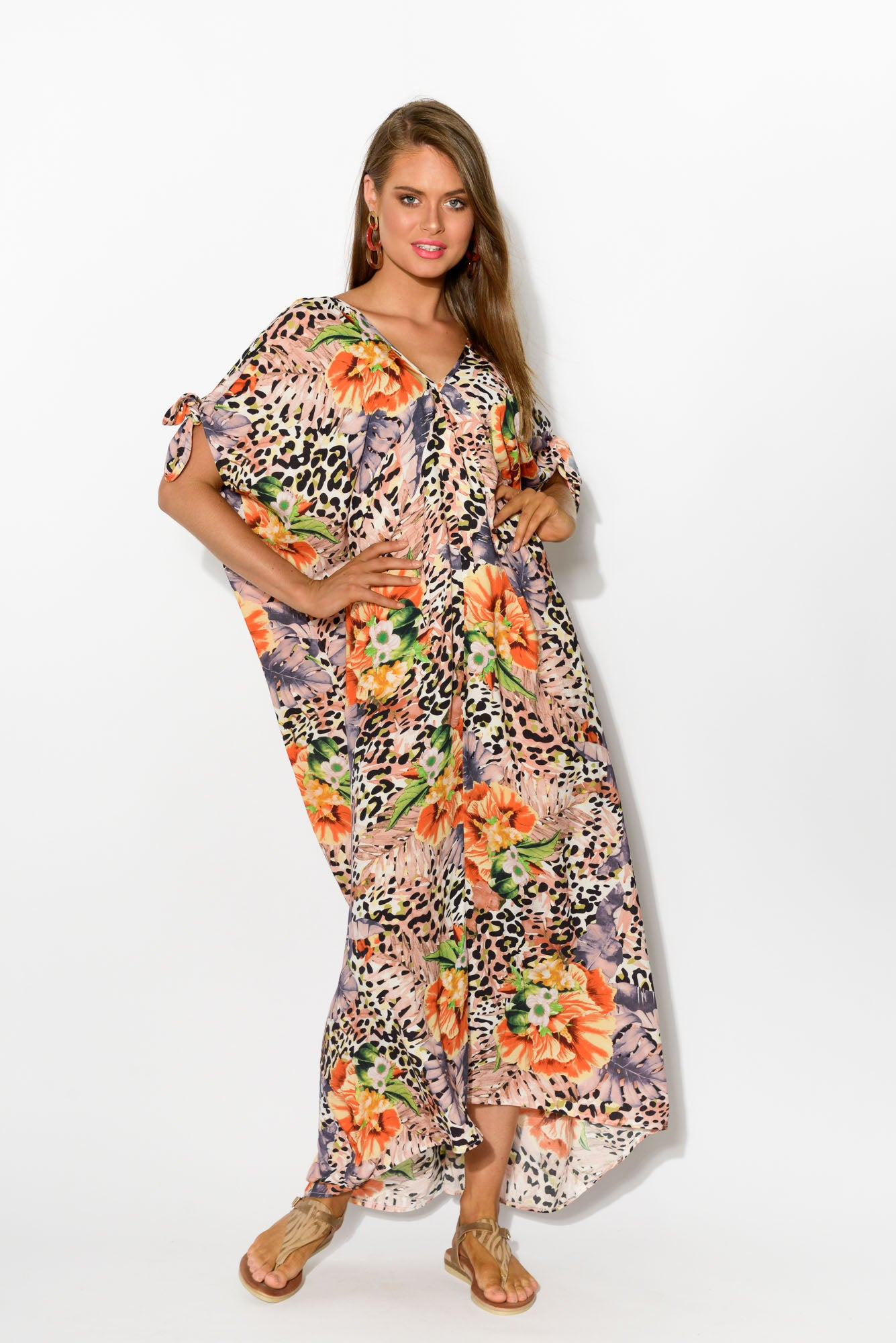 Tropical Leopard Cold Shoulder Maxi Dress - Blue Bungalow