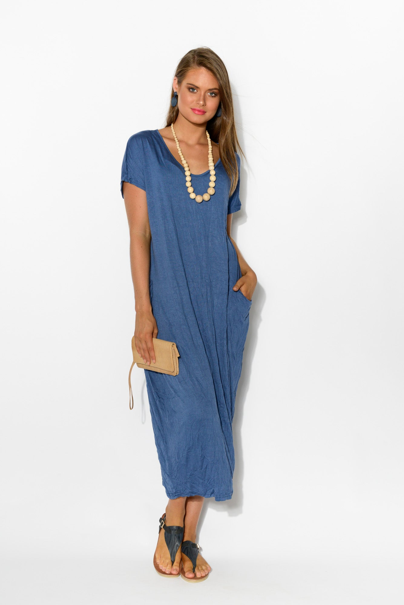 Blue Pocket Cotton Draped Dress - Blue Bungalow