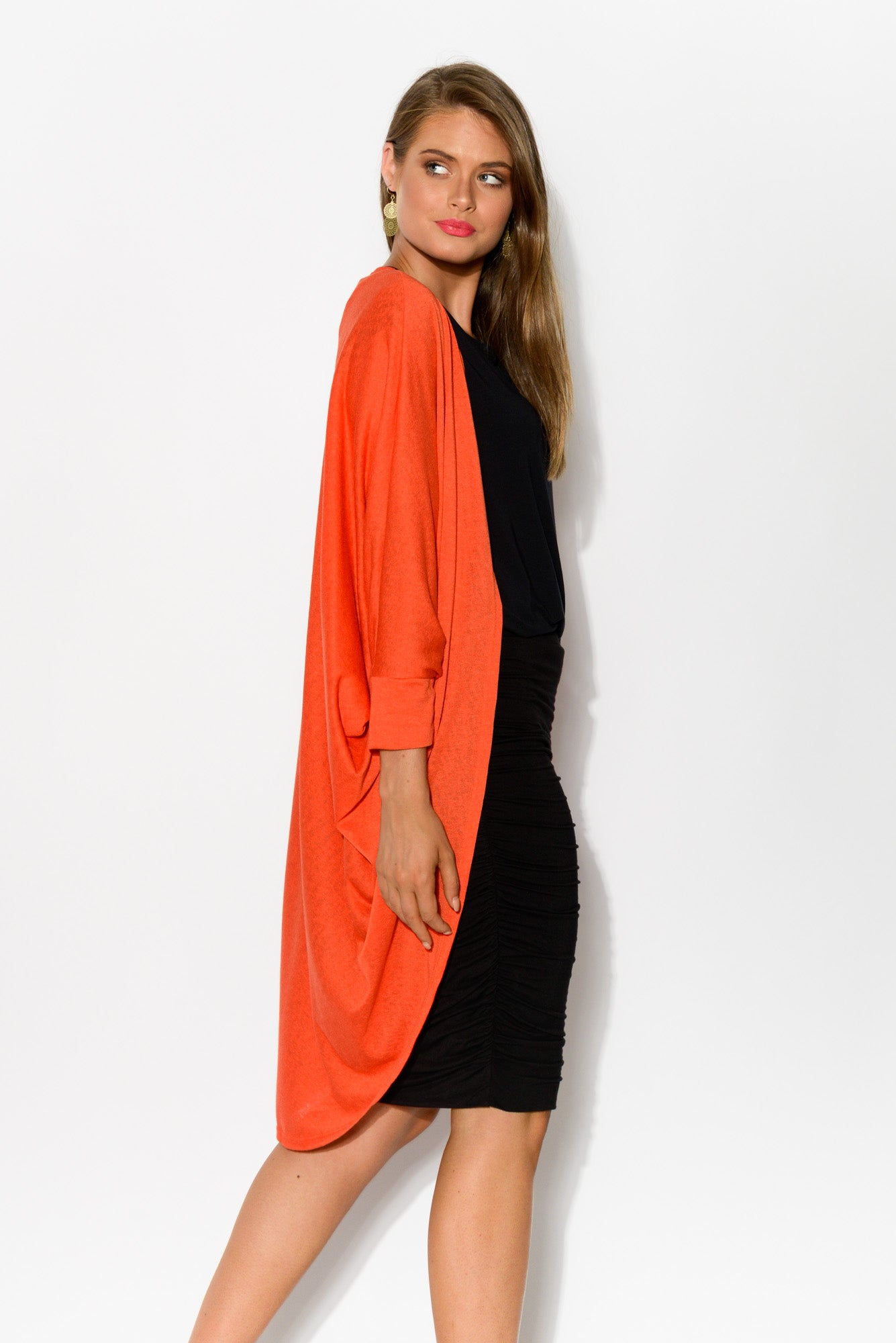 Santorini Orange Drape Cardigan - Blue Bungalow